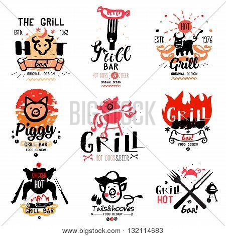 Grill illustrations and logos. Drawings and symbols are handmade on the subject of barbecue and grilling. Natural meat products.