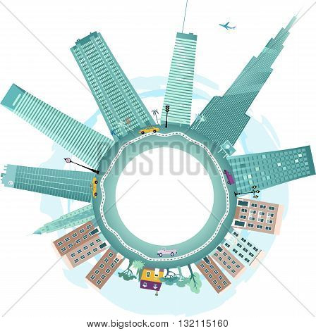 Downtown and suburbs, EPS8 vector background illustration