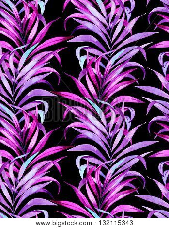 seamless classic vertical palm pattern. interior layout with vibrant neon glowing palm leaves on black background. watercolor artwork,