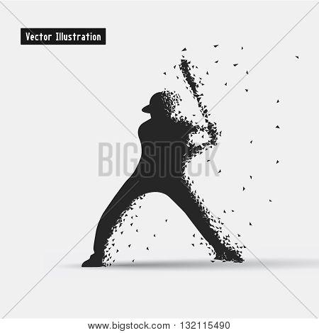 Baseball. Vector eps10 illusration. Particle divergent composition