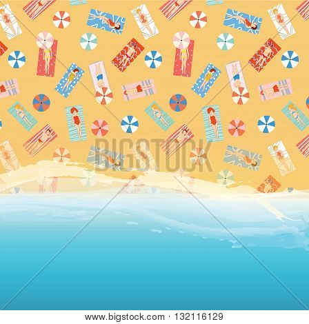 Beach background with ocean sand and people pattern - vector illustration. Suitable for the card banner wed design element.