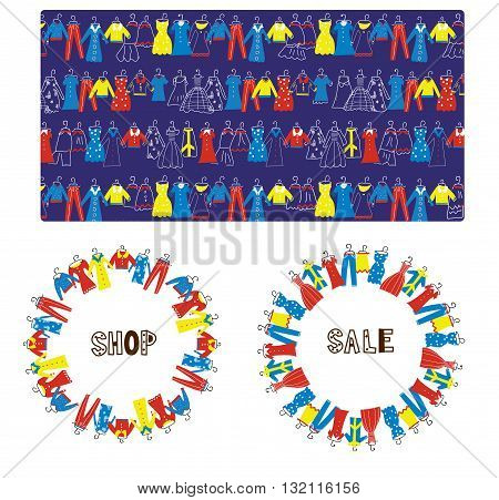 Fashion tailor sale banners frame and pattern graphic illustration design set. Vector format.