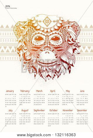 Calendar for 2016 with a fiery monkey. Red Monkey calendar grid on a light background. Week starts on Sunday