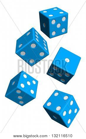 Five blue dices isolated on white. 3D illustration.