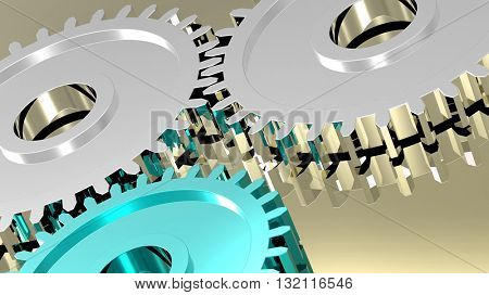 Two steel gears in connection with blue one. Concept for teamwork and business. 3D illustration.