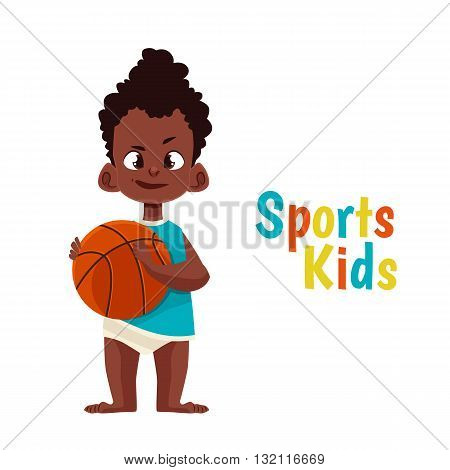 Baby in diaper playing basketball, vector cartoon comic illustration isolated on white background baby with a pacifier kicks a basketball, the baby in diaper playing sports