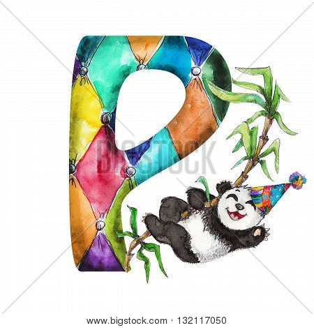 Font P Watercolor hand drawn  isolated panda in party hat on bamboo