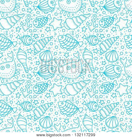 Vector seamless pattern with fish star shell crab anchor and bubble. Hand drawn doodle sea elements. Blue and white colors.