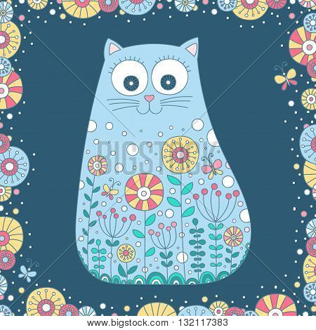 Doodle cat. Vector hand drawn cat with doodle ornament. Cute summer design for kids. Cat witt flowers butterfly and dots.