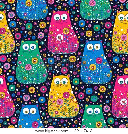 Cute doodle cats. Vector seamless pattern with hand drawn doodle cats. Colorful cats with floral ornament. Fun background for children. Bright colors.