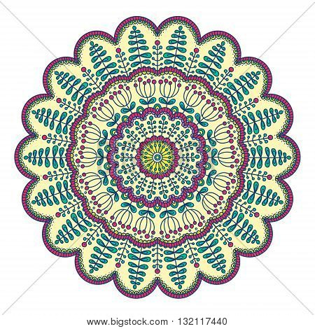 Vector hand drawn doodle mandala. Ethnic mandala with floral ornament and berry. Isolated. Yellow pink white and green colors.