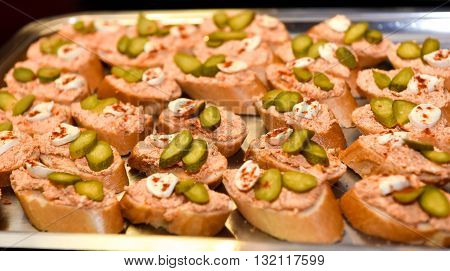 Home Made Canapes Small Sandwiches Appetizers