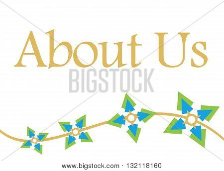 About us text written over abstract background with green blue floral elements.