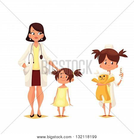 Pediatrician doctor with his patient, cartoon comic vector illustration isolated on white background, Dr. pediator with a small child, a child plays in the doctor holding a toy