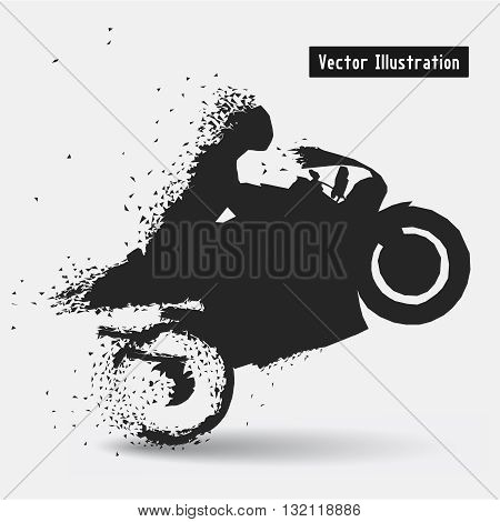 Motorcycle Racing Riders. Vector eps10 illusration. Particle divergent composition