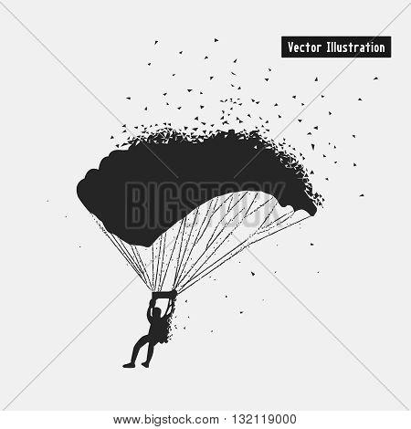 Parachuting. Vector eps10 illusration. Particle divergent composition
