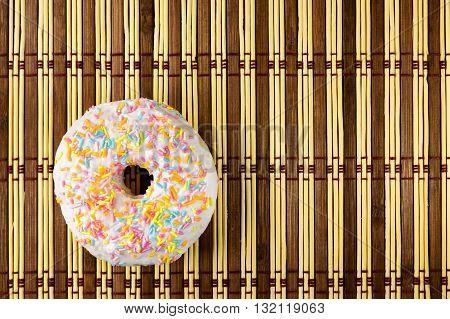 Donut in white glaze . design element
