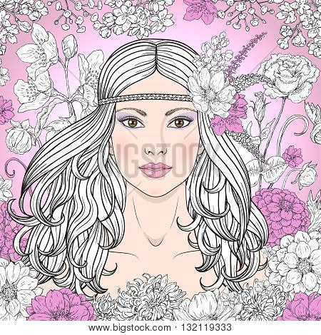 Hand drawn beautiful girl with flowers on pink background. Doodle floral frame. Black pink and white color illustration. Monochrome image of woman with long curly hair. Vector sketch.