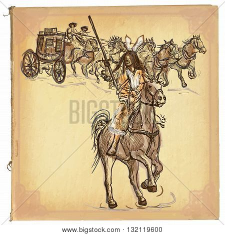 An hand drawn retro vector illustration colored line art. INDIAN. Freehand sketch of an native american in front of stagecoach. Hand drawings are editable. Background is isolated. Vintage processing.