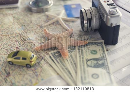 Camera, Compass, Passport, Credit Card, Banknote, Globe, Map, Car And Starfish Figurine For Use As T