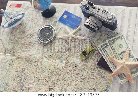 Compass, Passport, Credit Card, Banknote, Globe, Camera, Map, Ship Car And Starfish Figurine For Use