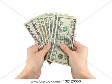 Image Of Dollars In Hands Of A Man