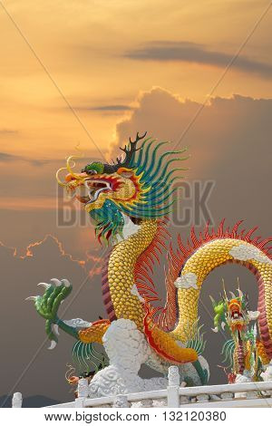Beautiful Chinese Dragon At Sunset Time Thailand