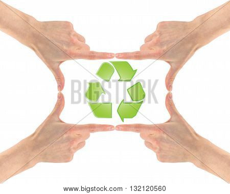 Recycling Symbol In The Center Of The Four Hands