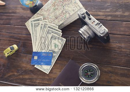 Compass, Passport, Credit Card, Banknote, Camera,map, Car Figurine For Use As Trip Vacation Concept