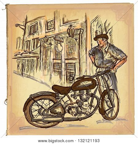 An hand drawn retro vector illustration colored line art. MOTORCYCLE REPAIRMAN. Vintage freehand sketch of an repairman in front of old house. Hand drawings are editable. Background is isolated.