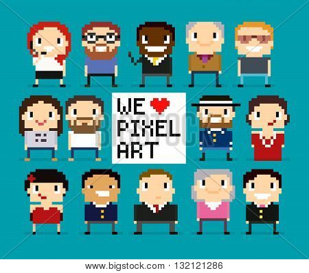 Different pixel art characters 8 bit people pixel office workers we love pixel art sign with pixel heart