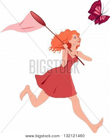 Redhead girl in a red dress chasing a butterfly with a net. Vector illustration, isolated on white