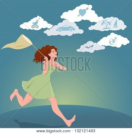 Young woman pursuing her dreams. Vector illustration with a girl with a butterfly net running after clouds with symbols of dreams and hopes