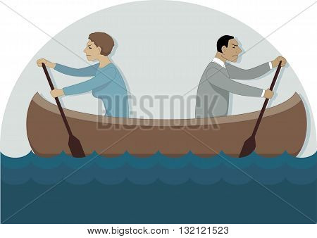 A couple in a canoe rowing in different directions, vector illustration, no transparencies