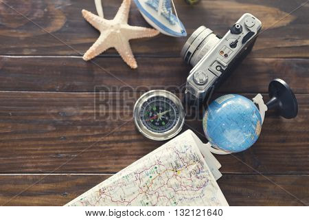 Compass, Camera, Globe,map, Ship And Starfish Figurine For Use As Trip Vacation Concept (vintage Ton