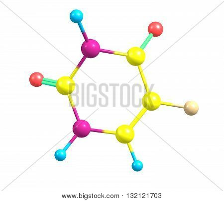 Fluorouracil - 5-FU Adrucil Carac - is a drug that is a pyrimidine analog which is used in the treatment of cancer. 3d illustration