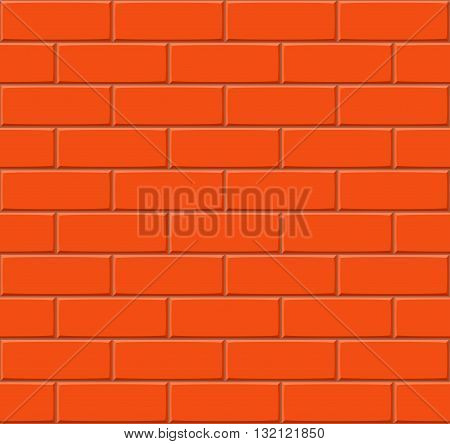 Cartoon Hand Drown Dark Orange Seamless Brick Wall Texture. Vector Illustration