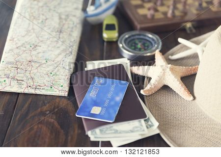Map, Chessboard, Hat, Compass, Passport, Credit Card, Banknote, Ship Car And Starfish Figurine For U
