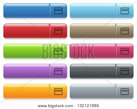 Set of credit card glossy color menu buttons with engraved icons