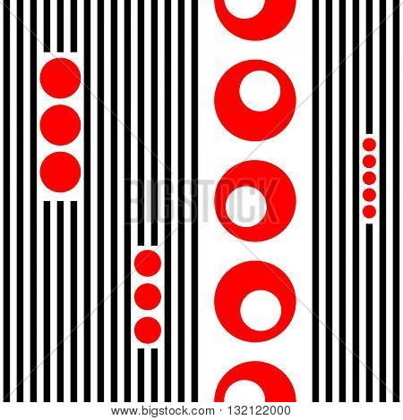 Seamless Vertical Stripe and Circle Pattern. Vector Striped Background