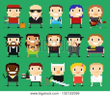 Different pixel art characters 8 bit people with different gender occupation and skin tone