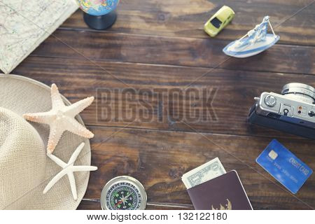 Hat, Compass, Passport, Credit Card, Banknote, Globe, Camera, Map, Ship Car And Starfish Figurine Fo