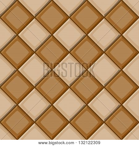 Cartoon Hand Drown Beige And Brown Diagonal Seamless Tiles Texture. Vector Illustration