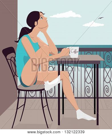 Young girl having coffee on a hotel balcony looking at an ocean view, vector illustration