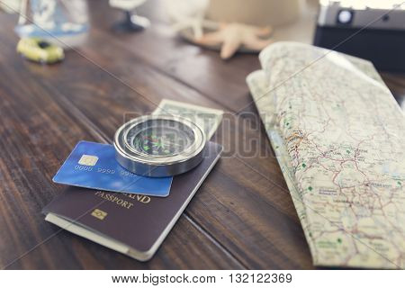 Compass, Hat, Passport, Credit Card, Banknote, Camera, Map, Ship Car And Starfish Figurine For Use A