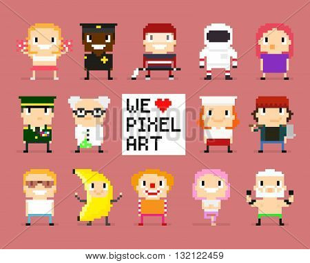 Different pixel art characters 8 bit people we love pixel art sign with pixel heart