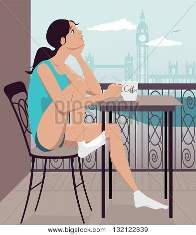 Young girl having breakfast on a hotel balcony in London, vector illustration