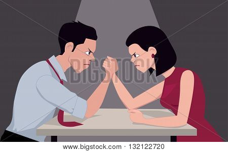 Man and woman arm wrestling, representing gender conflict, vector illustration