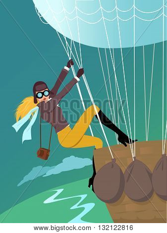 Young blond woman in the aviator jacket and goggles climbing a hot air balloon basket, vintage inspired pin up vector illustration