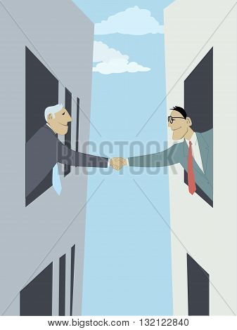 Business-to-business. Two businessmen shaking hands across the street, leaning out of the windows, vector illustration representing business collaboration